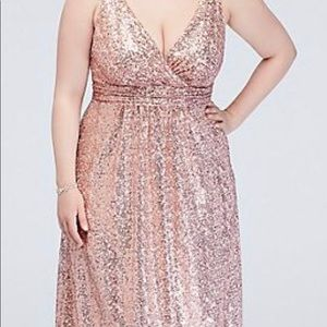 Rose Gold Sequin V-Neck Bridesmaid Dress